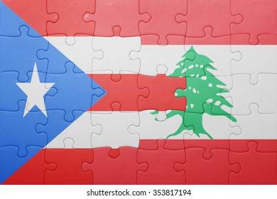 puzzle with the national flag of puerto rico and lebanon . concept