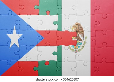 puzzle with the national flag of puerto rico and mexico . concept