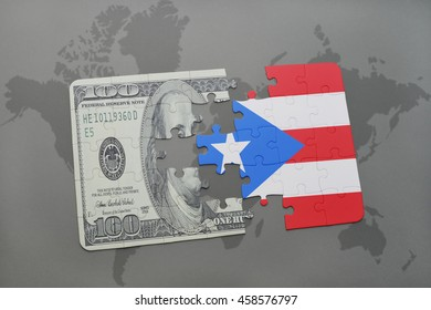 puzzle with the national flag of puerto rico and dollar banknote on a world map background. 3D illustration
