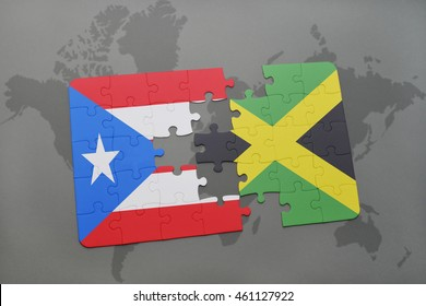 puzzle with the national flag of puerto rico and jamaica on a world map background. 3D illustration