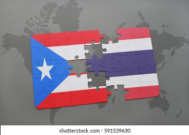puzzle with the national flag of puerto rico and thailand on a world map background. 3D illustration
