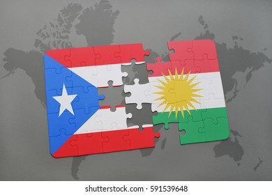 puzzle with the national flag of puerto rico and kurdistan on a world map background. 3D illustration