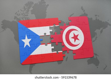 puzzle with the national flag of puerto rico and tunisia on a world map background. 3D illustration