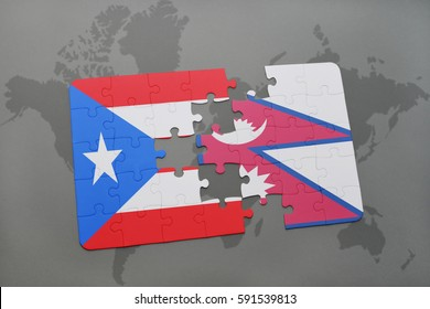 puzzle with the national flag of puerto rico and nepal on a world map background. 3D illustration