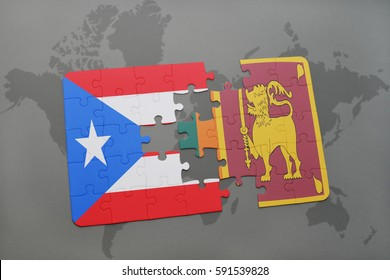 puzzle with the national flag of puerto rico and sri lanka on a world map background. 3D illustration