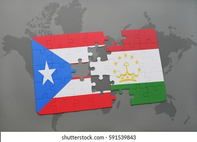 puzzle with the national flag of puerto rico and tajikistan on a world map background. 3D illustration