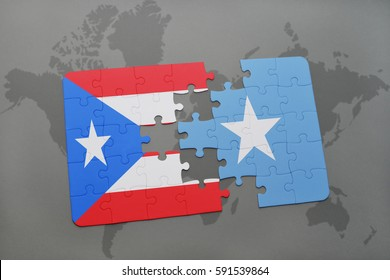 puzzle with the national flag of puerto rico and somalia on a world map background. 3D illustration