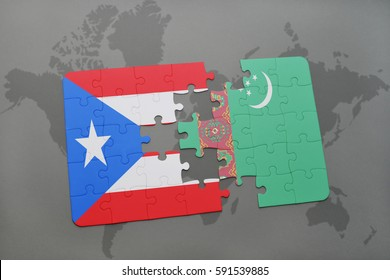 puzzle with the national flag of puerto rico and turkmenistan on a world map background. 3D illustration
