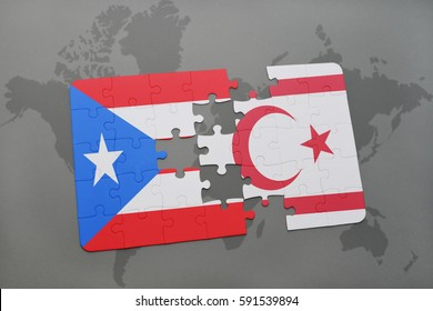 puzzle with the national flag of puerto rico and northern cyprus on a world map background. 3D illustration