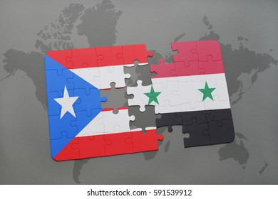 puzzle with the national flag of puerto rico and syria on a world map background. 3D illustration