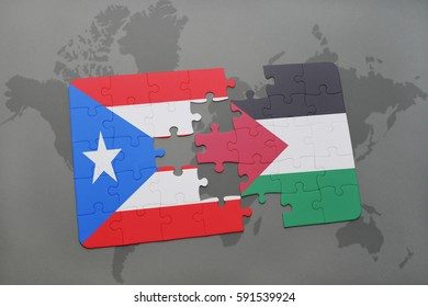 puzzle with the national flag of puerto rico and palestine on a world map background. 3D illustration
