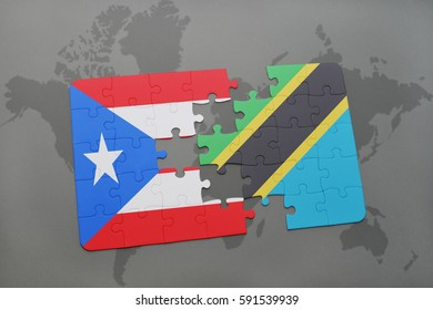 puzzle with the national flag of puerto rico and tanzania on a world map background. 3D illustration