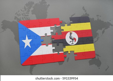 puzzle with the national flag of puerto rico and uganda on a world map background. 3D illustration