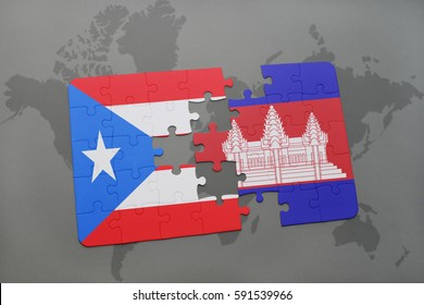 puzzle with the national flag of puerto rico and cambodia on a world map background. 3D illustration