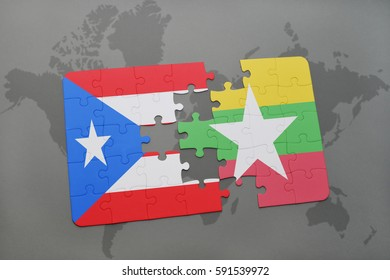 puzzle with the national flag of puerto rico and myanmar on a world map background. 3D illustration