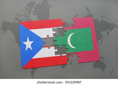puzzle with the national flag of puerto rico and maldives on a world map background. 3D illustration