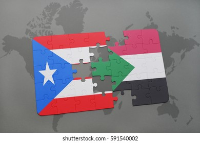 puzzle with the national flag of puerto rico and sudan on a world map background. 3D illustration