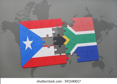 puzzle with the national flag of puerto rico and south africa on a world map background. 3D illustration