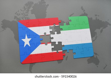 puzzle with the national flag of puerto rico and sierra leone on a world map background. 3D illustration