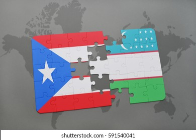 puzzle with the national flag of puerto rico and uzbekistan on a world map background. 3D illustration