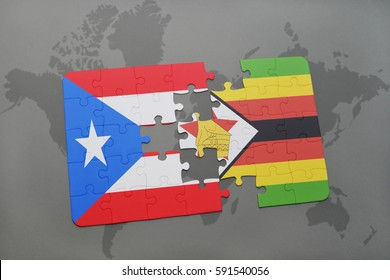puzzle with the national flag of puerto rico and zimbabwe on a world map background. 3D illustration
