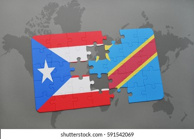 puzzle with the national flag of puerto rico and democratic republic of the congo on a world map background. 3D illustration