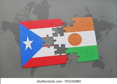 puzzle with the national flag of puerto rico and niger on a world map background. 3D illustration