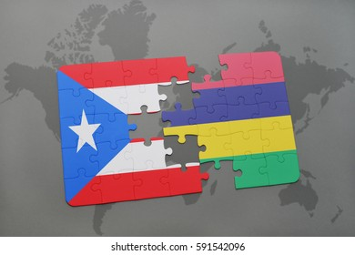 puzzle with the national flag of puerto rico and mauritius on a world map background. 3D illustration