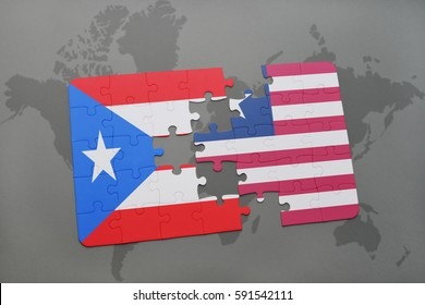 puzzle with the national flag of puerto rico and liberia on a world map background. 3D illustration