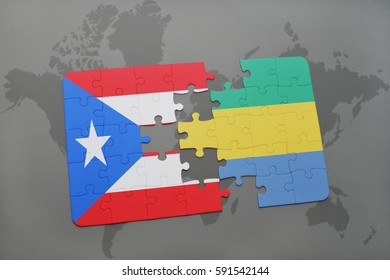 puzzle with the national flag of puerto rico and gabon on a world map background. 3D illustration