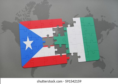 puzzle with the national flag of puerto rico and nigeria on a world map background. 3D illustration