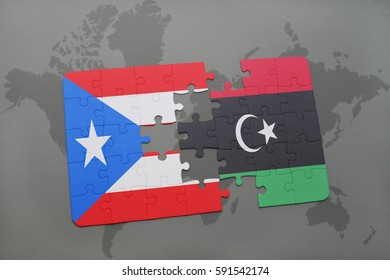 puzzle with the national flag of puerto rico and libya on a world map background. 3D illustration