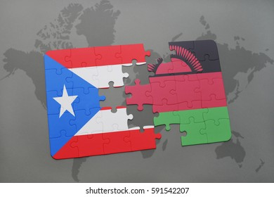puzzle with the national flag of puerto rico and malawi on a world map background. 3D illustration