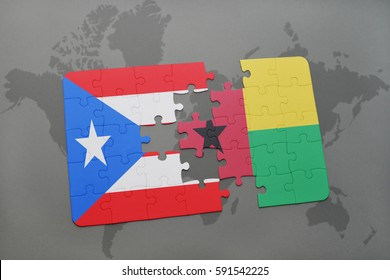 puzzle with the national flag of puerto rico and guinea bissau on a world map background. 3D illustration