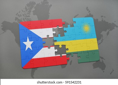 puzzle with the national flag of puerto rico and rwanda on a world map background. 3D illustration