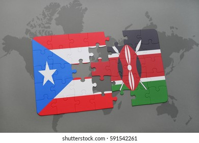 puzzle with the national flag of puerto rico and kenya on a world map background. 3D illustration