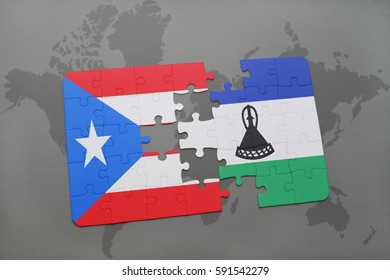puzzle with the national flag of puerto rico and lesotho on a world map background. 3D illustration