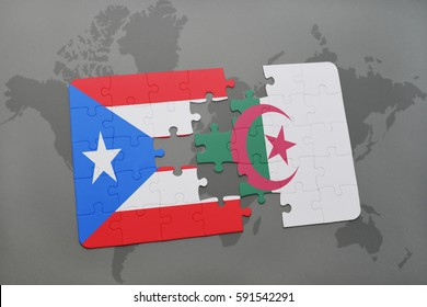puzzle with the national flag of puerto rico and algeria on a world map background. 3D illustration
