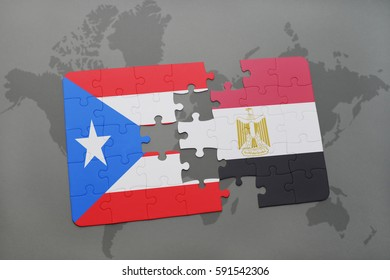 puzzle with the national flag of puerto rico and egypt on a world map background. 3D illustration
