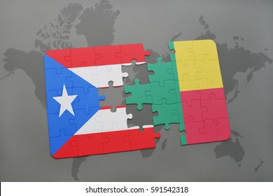 puzzle with the national flag of puerto rico and benin on a world map background. 3D illustration