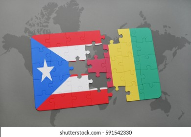 puzzle with the national flag of puerto rico and guinea on a world map background. 3D illustration