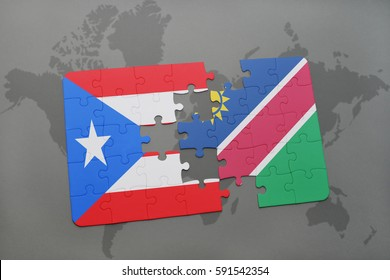 puzzle with the national flag of puerto rico and namibia on a world map background. 3D illustration