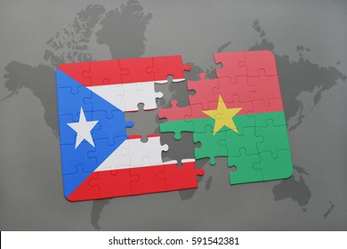 puzzle with the national flag of puerto rico and burkina faso on a world map background. 3D illustration