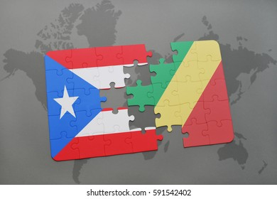 puzzle with the national flag of puerto rico and republic of the congo on a world map background. 3D illustration