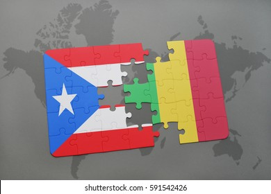 puzzle with the national flag of puerto rico and mali on a world map background. 3D illustration