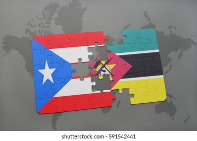 puzzle with the national flag of puerto rico and mozambique on a world map background. 3D illustration