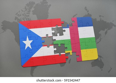 puzzle with the national flag of puerto rico and central african republic on a world map background. 3D illustration