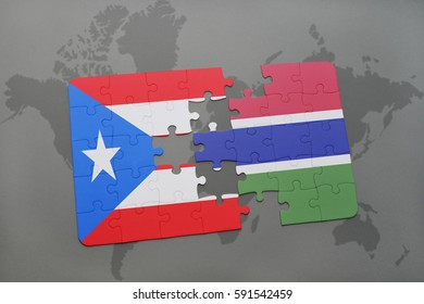 puzzle with the national flag of puerto rico and gambia on a world map background. 3D illustration