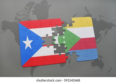 puzzle with the national flag of puerto rico and comoros on a world map background. 3D illustration