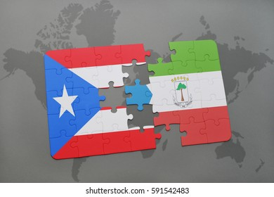 puzzle with the national flag of puerto rico and equatorial guinea on a world map background. 3D illustration